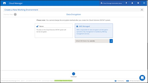 cloud manager data encryption_netapp