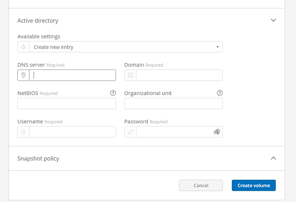 The process for setting up SMB volume access differs from that of an NFS volume because, in this instance, you'll need to enter different information for the volume access permissions.