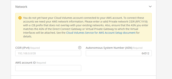 If this is your first time creating a cloud volume for AWS, the Cloud Orchestrator site prompts you to enter all of your AWS network details.