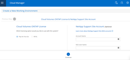 Cloud Volumes ONTAP License & NetApp Support Site Account