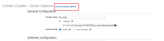 Create Cluster - Quick Options - Go to advanced options