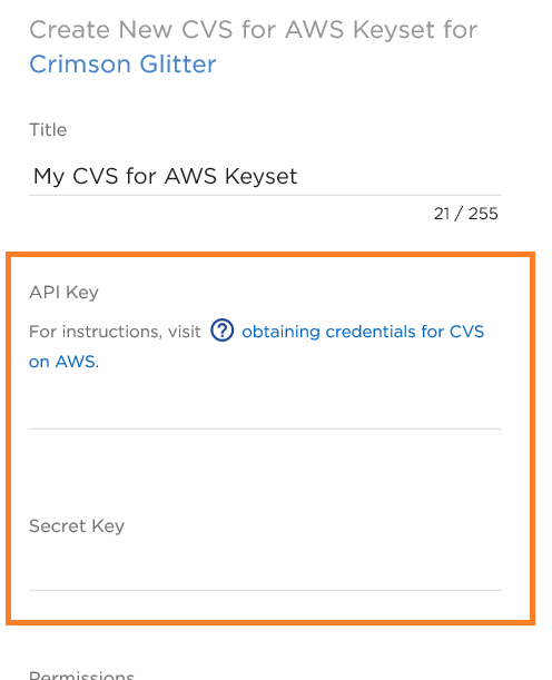 "If you click on ""Add Cloud Volumes Service for AWS Keyset"" you'll be taken to the window for adding your credentials for Cloud Volumes Service for AWS."