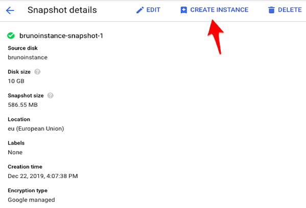 Deploy a new instance from Snapshot action.
