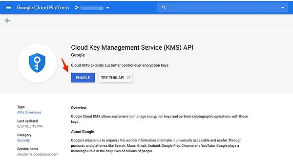 Cloud KMS API enablement