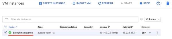 VM instance list