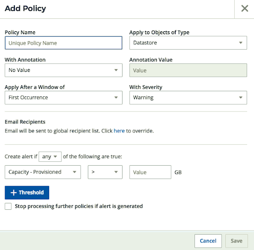 Adding a policy alert dialog box