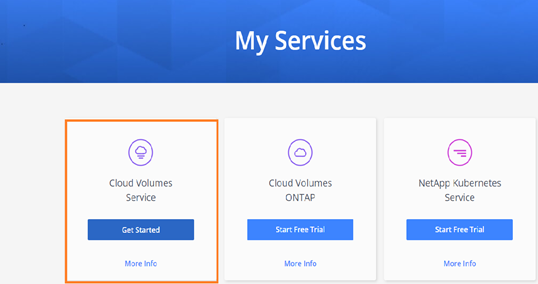 From My Services, select Cloud Volumes Service and click Get Started