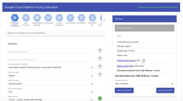Google Cloud Platform Pricing Calculator