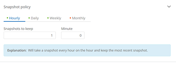 Selecting the Hourly policy, as shown here, creates a Snapshot every hour and retains the most recent Snapshot copy.