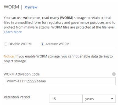 Setting up WORM storage in Cloud Manager