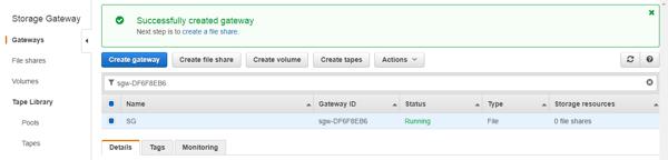 Successfully created gateway