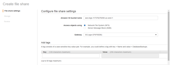 configure file share settings
