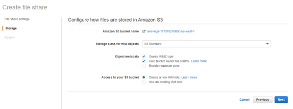 Configure how files are stored in Amazon S3