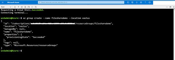 Replace <resourcegroupname> and <azureregion> with the name. of the resource group and the Azure region