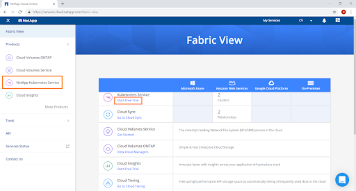 "In 'Fabric View', click on ""NetApp Kubernetes Service"""