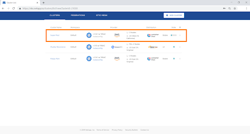 You can view the status of the cluster in the NetApp Kubernetes Service dashboard by navigating to Control Plane>Clusters.