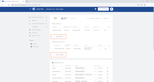 Once the cluster is provisioned, click on the cluster name to view and modify cluster-specific configurations.