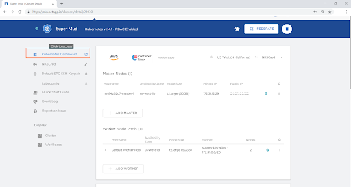 """Click on """"Kubernetes Dashboard"""" on the left-hand side to access the dashboard for the cluster."""