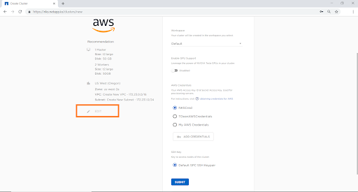 "Click ""Edit"" to configure the AWS environment that will be used for the cluster."