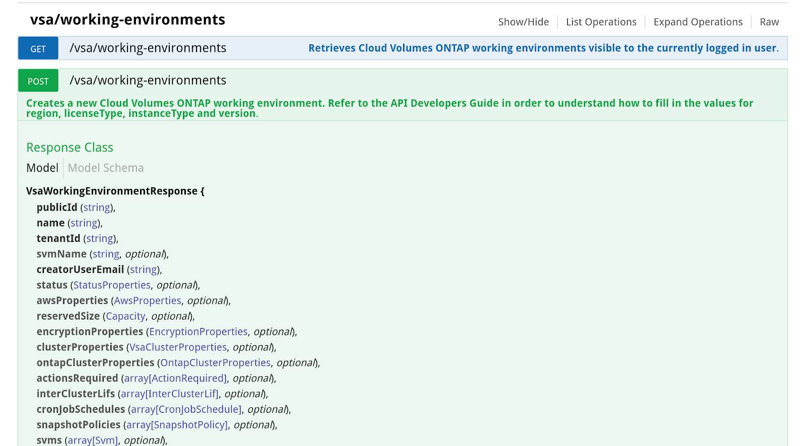 vsaworking-environments in cloud manager