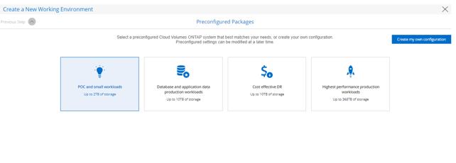 Cloud Volumes ONTAP Preconfigured Package