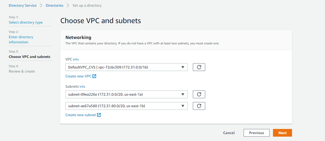 choose VPC and subnets