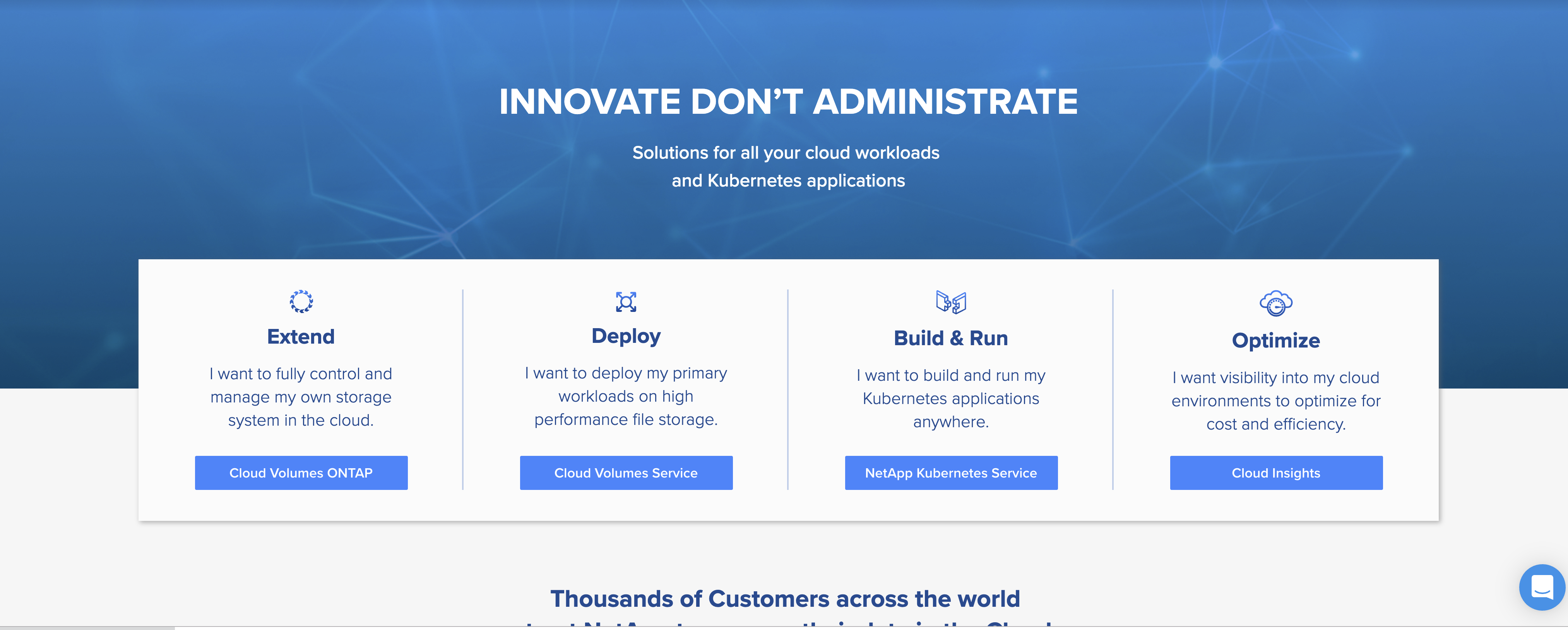 NetApp Cloud Solutions Homepage