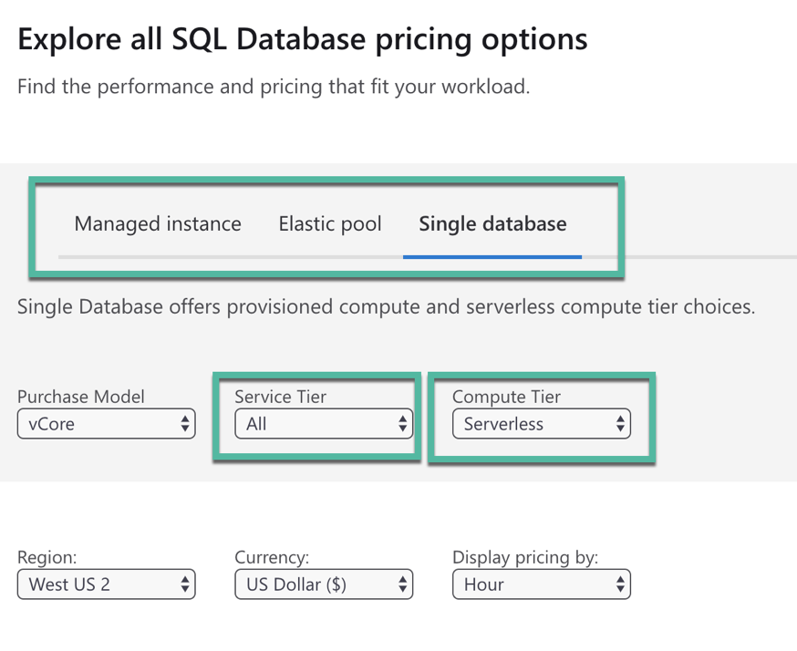 SQL Database pricing options