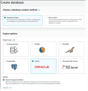 Choose a database creation method (Microsoft SQL Server, PostgreSQL, Oracle, MariaDB, MySQL, Amazon Aurora)